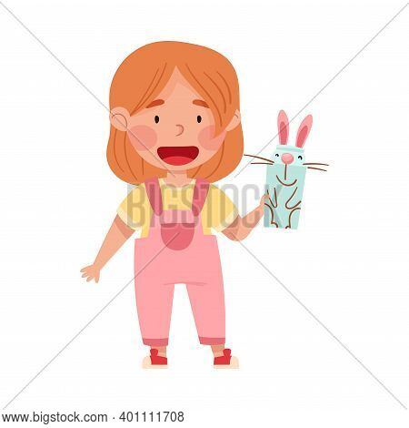 Excited Girl Artist With Handcrafted Cardboard Hare Vector Illustration