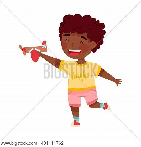Excited African American Boy Artist With Handcrafted Cardboard Plane Vector Illustration