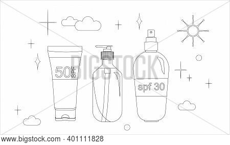 Thin Line Vector Set Sunscreen Gel, Sunblock Spray, Tanning Oil. Prevention Of Aging And Skin Cancer