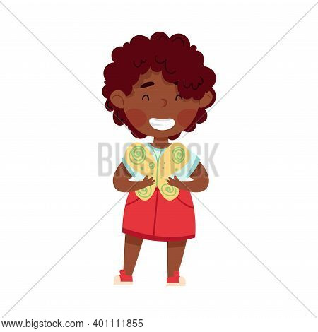 Smiling African American Girl Artist With Handcrafted Butterfly Vector Illustration
