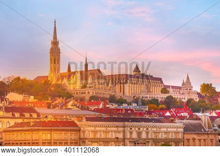 Panorama Of Buda Part Of Budapest, Hungary With St. Matthias Church And Fisherman Bastion Against Su