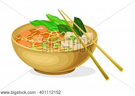 Asian Savoury Soup With Noodles, Tofu And Bean Sprouts In Bowl With Chopsticks Vector Illustration