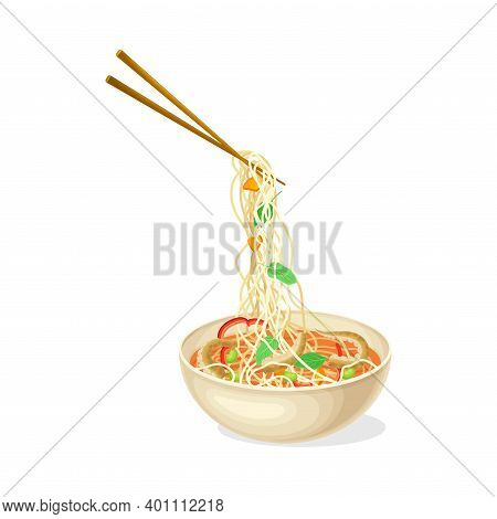 Thick Broth With Seafood And Noodles As Asian Savoury Soup Served In Bowl With Chopsticks Vector Ill