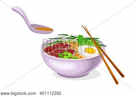 Asian Savoury Soup With Noodles And Boiled Egg In Bowl With Chopsticks Vector Illustration