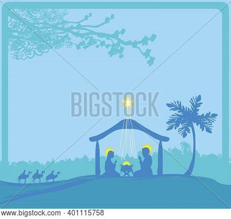 Birth Of Jesus In Bethlehem Landscape , Vector Illustration