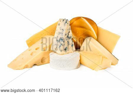 Different Types Of Delicious Cheese On White Background. Composition With Different Kinds Of Tasty C