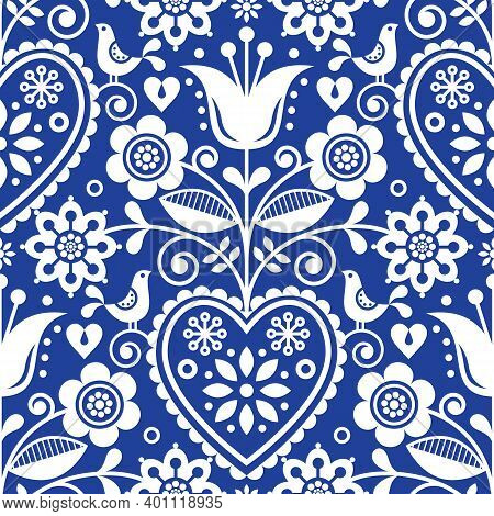 Seamless Folk Art Vector Pattern With Birds And Flowers, Scandinavian Or Nordic Floral Design In Whi