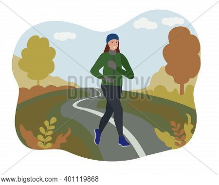 A Woman Running In An Autumn Park. Sports Training On The Street. Runner In Motion. Marathon And Lon