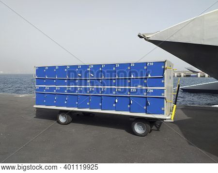 Block Of Blue Lockers With Key Locks For Ship And Shipping Personnel. Storage Lockers With Blue And