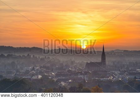 Amazing Sunrise Over The City Of Graz With Church Of The Sacred Heart Of Jesus And Historic Building