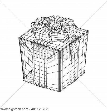 Gift Box With Ribbon Wireframe