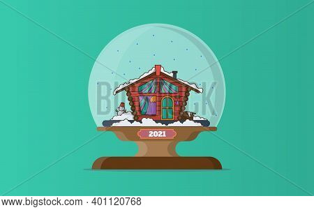 A Magic Ball With Snow And A Snow-covered House Inside. Winter Landscape For Christmas. Cartoon Vect