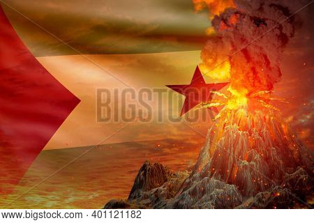 Volcano Blast Eruption At Night With Explosion On Sao Tome And Principe Flag Background, Suffer From