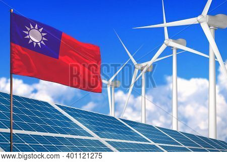 Taiwan Province Of China Solar And Wind Energy, Renewable Energy Concept With Windmills - Renewable