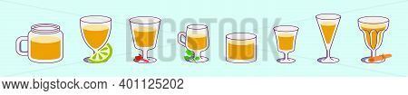 Set Of Sangria Cartoon Icon Design Template With Various Models. Modern Vector Illustration Isolated