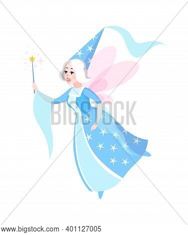 Fairy Tales Character. Cartoon Woman In Blue Dress And Cone Hat With Butterfly Wings Flying, Sorcere