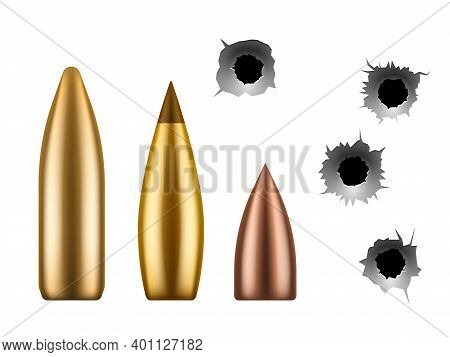 Bullets And Bullet Holes. Circle Hole In Metal Wall, Close Up Gunshot Grunge Texture And Metallic Ca