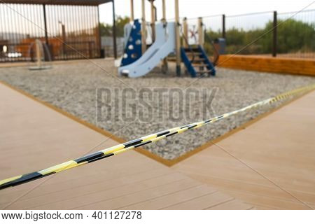 Closed Childrens Playground In The City During Covid Pandemic, Epidemic. Playground Locked Down And
