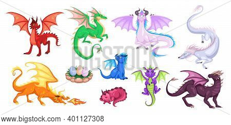 Magic Dragons. Fantasy Funny Creatures, Big Flying Fairy Animals, Fire-breathing Legendary Character