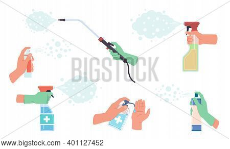 Disinfectant Spray In Hand. Detergent Sanitizer In Hands, Antiseptics And Protection Gloves, Househo