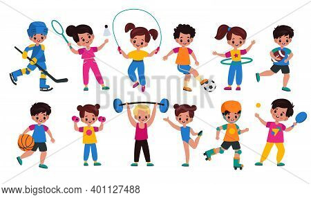 Sport Kids. Children With Sports Attributes, Boys And Girls With Different Balls, Fitness Accessorie