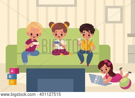 Children Playroom. Kids With Gadgets In Room Interior, Boys And Girls Use Means Social Communication