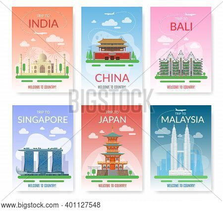 Asia Travel. Exotic Tour Beautiful Landmarks, Historical City Buildings And Constructions. Tourist E