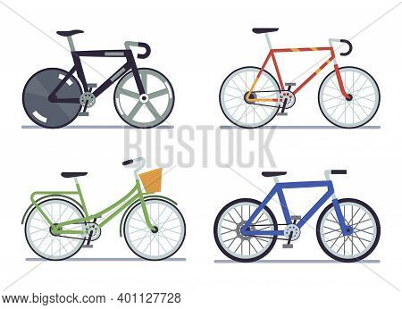 Bike Set. Extreme Sports And Roadbike, Cruising And Dutch Side View Bikes Collection, Walking Modern