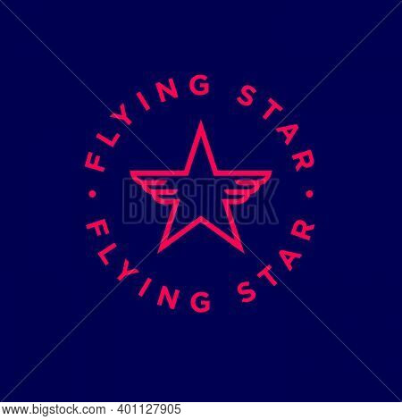Flying Star Logo. Star And Wings Inside Circle. Logo Can Used For Business, Small Aviation, Aircraft