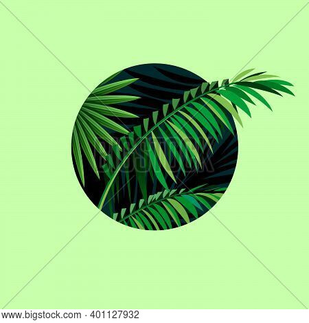 Tropical Landscape Illustration In Circular Frame. Palm Leaves Silhouette, Jungle Plants. Palm Leave