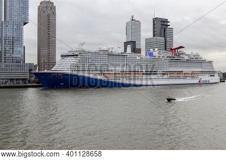 Rotterdam, Netherlands - December 22: Carnival Lines First Lng Powered Cuise Vessel Mardi Gras Berth