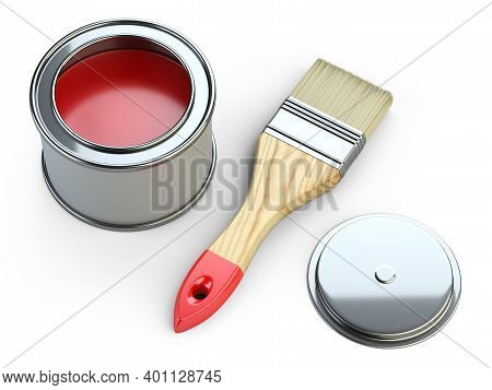 Opened Metal Can With Paint And Brush. Discount Concept, Abstract Percent Sign. 3d Illustration Isol