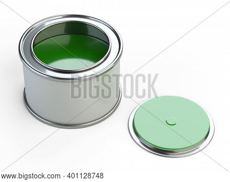 Opened Metal Can With Green Paint. 3d Illustration Isolated On White Background.