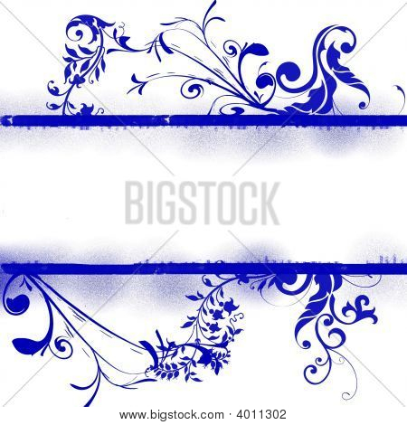 Blue Floral Background With Copyspace