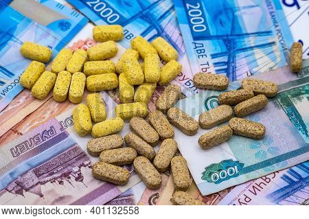 Pills And Rubles, High Cost Of Medicines, Pills And Money, Treatment Costs
