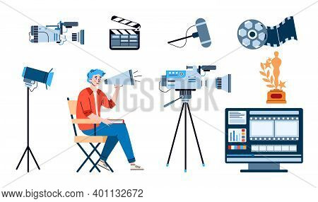 Director With Loudspeaker And Professional Movie Equipment For Cinema Entertainment Film Production