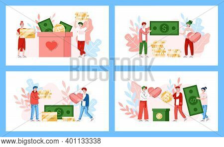 Set Of Banners With Volunteers Donating Money, Flat Cartoon Vector Illustration Isolated On White Ba