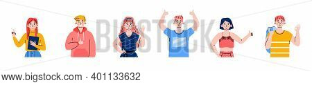 Set Of Cheerful People Characters Raising Hands In Ok And Thumbs Up Gestures Of Appreciation And Suc