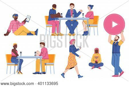 Podcast In Studio Set Of People Characters Leading And Listening To Radio Stream, Flat Vector Illust