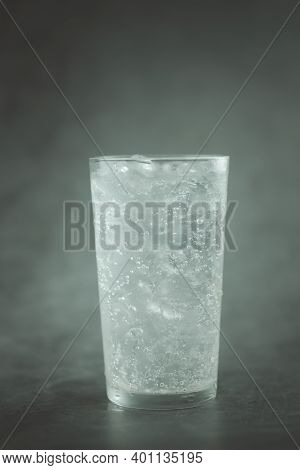 Soda Water With Ice Cubes For Refreshing. Refreshing And Quench Thirst Concept.