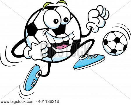 Cartoon Illustration Of A Happy Soccer Ball Kicking A Ball.