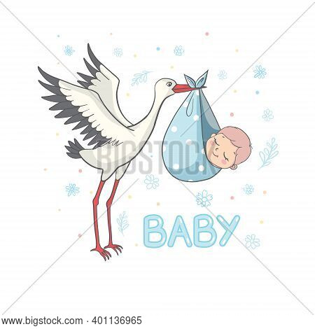 Invitation To A Baby Shower With A Stork. Postcard Stork With A Child And The Inscription Baby.