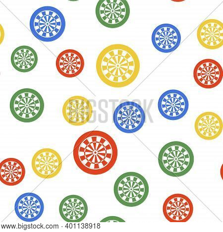 Color Classic Darts Board With Twenty Black And White Sectors Icon Isolated Seamless Pattern On Whit