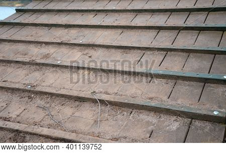 Wooden Ramp On The Playground With Non-slip Crossbeams. Used To Ascend Up An Inclined Plane. Horses