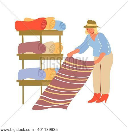 Human Character Choosing Carpet At Shop With Shelves On Background Flat Vector Illustration
