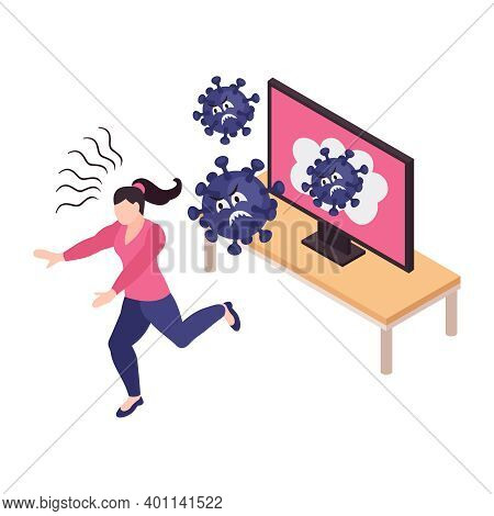 Frightened With Viruses Woman With Panic Attack Running Away From Tv Set 3d Isometric Vector Illustr