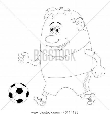 Soccer sportsman running with ball, cartoon character, black contour isolated on white background. Vector poster