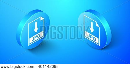Isometric Jpg File Document Icon. Download Jpg Button Icon Isolated On Blue Background. Blue Circle