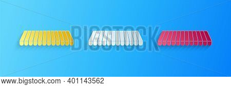 Paper Cut Striped Awning Icon Isolated On Blue Background. Outdoor Sunshade Sign. Awning Canopy For