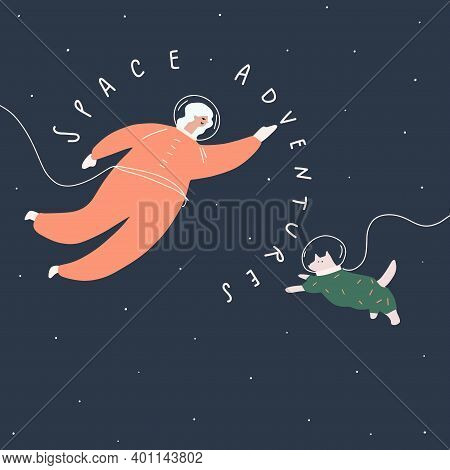 Woman And Dog In Spacesuits , Space Adventures. Vector Illustration